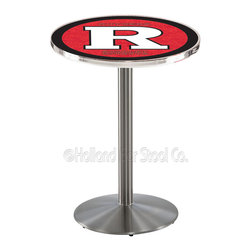 Holland Bar Stool - Holland Bar Stool L214 - Stainless Steel Rutgers Pub Table - L214 - Stainless Steel Rutgers Pub Table belongs to College Collection by Holland Bar Stool Made for the ultimate sports fan, impress your buddies with this knockout from Holland Bar Stool. This L214 Rutgers table with round base provides a commercial quality piece to for your Man Cave. You can't find a higher quality logo table on the market. The plating grade steel used to build the frame ensures it will withstand the abuse of the rowdiest of friends for years to come. The structure is 304 Stainless to ensure a rich, sleek, long lasting finish. If you're finishing your bar or game room, do it right with a table from Holland Bar Stool. Pub Table (1)