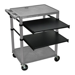 Luxor - McCarthy Computer Cart - LEMPS-G - Shop for Workstations from Hayneedle.com! The McCarthy Computer Cart includes two adjustable pullout shelves and comes complete with surge electric and 4-inch casters two with locking brakes. Other features include: integral safety push handle molded into top shelf; 3-outlet 15-foot surge suppressing electric assembly UL and CSA listed; a retaining lip and sure-grip safety pads to prevent equipment slippage; and a cord management system to avoid tangles. With the McCarthy Computer Cart you'll enjoy a neater and more organized workstation than you've ever had. About LuxorLocated in northern Illinois Luxor designs distributes and markets an extensive line of quality specialty furniture for offices schools libraries health care and automotive facilities. These high-quality cost-effective products improve workplace efficiency performance and productivity. Luxor's diverse product line includes mobile equipment tables computer workstations television mounting systems book trucks and more to keep your supplies organized and mobile. Each product is crafted from durable materials and is backed by a generous lifetime guarantee. Luxor is continually assessing the ever-changing needs of the workplace and developing new innovative products to address these needs. Use these versatile products for a variety of applications to improve the comfort of your work environment.