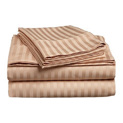 300 Thread Count Egyptian Cotton California King Beige Stripe Sheet Set - Experience true 100% Egyptian Cotton luxury when you sleep on these 300 Thread Count sheets.  An affordable luxury that drapes beautifully on the bed. This set includes One Flat Sheet 108x102, One Fitted Sheet 72x84, and Two Pillowcases 20x40 each.