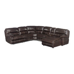Hooker Furniture - Hooker Furniture Espresso 6-Piece Sectional with RAF Chaise - Developed by one of America's premier manufacturers to offer quality furniture at affordable prices. Each piece is meticulously hand-crafted using the most exquisite leathers in the world. The Espresso 6-Piece Sectional with RAF Chaise is crafted from 089 Espresso leather/vinyl match.