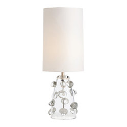 Arteriors - Poppy Lamp - See your favorite setting in a whole new light with this table lamp. The clear conical base is studded with free-form bubbles and topped with a tall white shade.