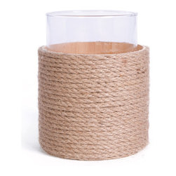 Go Home - Roped Hurricane- Set Of 2 - Roped Hurricane is simple and sturdy in shape but with the organic appearance given by a dense of coil natural-toned fibers.Ideal for adding the easy romance of candlelight to a tropical or nautical theme, this hurricane candle holder can be placed in any environment with its unfussy clarity.