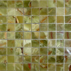 """Marbleville - Green Onyx 1"""" x 1"""" Polished Square Pattern Mesh-Mounted Marble Mosaic  in 12"""" x - Premium Grade Green Onyx 1"""" x 1"""" Polished Mesh-Mounted Marble Mosaic is a splendid Tile to add to your decor. Its aesthetically pleasing look can add great value to the any ambience. This Mosaic Tile is constructed from durable, selected natural stone Marble material. The tile is manufactured to a high standard, each tile is hand selected to ensure quality. It is perfect for any interior/exterior projects such as kitchen backsplash, bathroom flooring, shower surround, countertop, dining room, entryway, corridor, balcony, spa, pool, fountain, etc."""