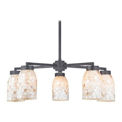 Design Classics Lighting - Chandelier with Mosaic Glass in Black Finish - Five Lights - 590-07 GL1026D - Country / cottage matte black 5-light chandelier with dome glass shades. Includes one 6-inch and three 12-inch down rods that allow this chandelier to hang at a minimum height of 17-3/4-inches up to a maximum of 53-1/8-inches. Takes (5) 100-watt incandescent A19 bulb(s). Bulb(s) sold separately. UL listed. Dry location rated.