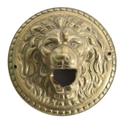 Vintage Brass Lion Medallion Bottle Opener - A majestic vintage brass lion medallion hardware element,  with two holes for mounting, one on each side as seen in picture. A great embellishment for any piece!