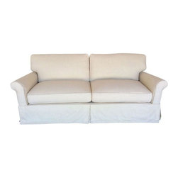 Pre-owned Slipcovered Roll Arm Sofa in Belgian Linen - Classic, bright, and clean, this slipcovered roll arm sofa invites you to sit back and relax. The neutral latte colored Belgian pre washed 100% linen fabric makes it an easy addition to existing decor. The slipcover can be removed and washed for easy maintenance.     Made in the USA by Dino Home Collection  Frame: Kiln-dried alder frame  Springs in seat: 8 way hand tied coils  Back pillow fill: 10% duck down 90% duck feather  Seat cushion fill: Wrapped with 10% duck down 90% duck feather with foam core