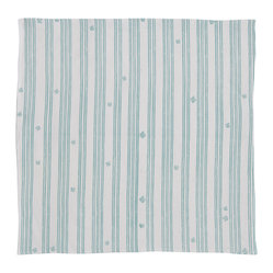 Cricket Radio - Indochine Friendship Stripe Napkin, Set of 2, White/Robins Egg - Whether you fold them, fan them or turn them into fancy flowers, these napkins will add style and color to your table. Made of soft Italian linen, each set of two 19-inch-square napkins features a hand-printed stripe pattern in in your choice of colors.