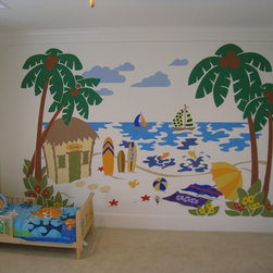 "Tropical Kids Paradise - Create the perfect beach scene in any room with this easy Paint-by-Number wall mural. Just TAPE, TRACE & PAINT. This mural measures 10' wide by 6' tall, but you can REUSE it, REVERSE it, and even REPEAT it - in whole or in part. This way you can ""extend"" your mural all around the room - an extra palm tree here, a starfish there etc. You can even change the colors for a perfect match."