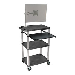 H. Wilson - Tuffy Presentation Cart w Casters in Black - Includes pullout laptop shelf and three outlet 15 ft. cord. Three shelves. High density polyethylene structural foam injection molded plastic shelves. 1.5 in. nickel legs that will not chip, warp, crack, rust or peel. 4 in. silent roll. Full swivel ball. 4 in. heavy duty casters, two with locking brakes. 0.25 in. safety retaining lip and a raised texture surface to enhance product placement. Ensures minimal sliding. Cord management wrap and three cable management clips. Electrical attachment recessed to insure easy passage through doorways. Shelves and legs are made from recycled material. Made from polyethylene and plastic. Made in USA. Minimal assembly required. Pullout shelf: 19.63 in. L x 15.63 in. W. Shelves: 24 in. L x 18 in. W x 1.5 in. H. Overall: 24 in. L x 18 in. W x 42.5 in. H. Warranty