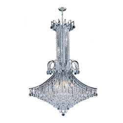 "Worldwide Lighting - Empire 16 Light Chrome Finish and Clear Crystal Chandelier 35"" D x 48"" H Large - This stunning 16-light chandelier only uses the best quality material and workmanship ensuring a beautiful heirloom quality piece. Featuring a radiant chrome finish and finely cut premium grade crystals with a lead content of 30%, this elegant chandelier will give any room sparkle and glamour. Worldwide Lighting Corporation is a privately owned manufacturer of high quality crystal chandeliers, pendants, surface mounts, sconces and custom decorative lighting products for the residential, hospitality and commercial building markets. Our high quality crystals meet all standards of perfection, possessing lead oxide of 30% that is above industry standards and can be seen in prestigious homes, hotels, restaurants, casinos, and churches across the country. Our mission is to enhance your lighting needs with exceptional quality fixtures at a reasonable price."