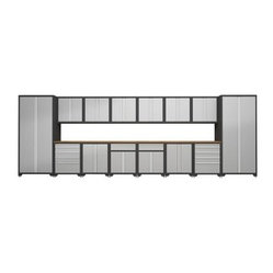 NewAge Products Diamond Plate Pro Series Cabinetry 20 ft. System: 16 Piece Set - - The fully ...