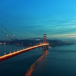 Magic Murals - Golden Gate Panorama Wall Mural -- Self-Adhesive Wallpaper by MagicMurals - The sun is just setting and the lights have just been lit along the Golden Gate Bridge that stretches along the strait that leads from the San Francisco Bay to the Pacific Ocean connecting San Francisco to Marin County, California.