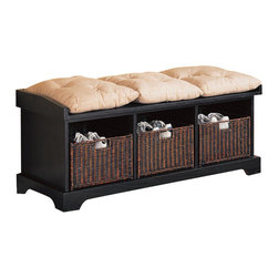 Coaster - Coaster Black Storage Bench with Baskets - Coaster - Living Room Benches - 501064 - This storage bench features a casual look and functional storage capabilities that you're sure to love. Three built in compartments include natural woven baskets for stylish storage. Toss shoes mittens hats and accessories inside and slide back into place to keep everything neatly out of sight. Woven baskets feature built in handles that let kids get in on the organization. A framed seat base keeps three linen colored cushions with tufted button details neatly in place and provides comfortable seating for putting on shoes. Lighten up your laundry room or entryway with the simple white finish or add texture and depth to any space with the inky black finish. Benches are beloved for their unique pairing of chic seating with stylish storage capabilities. From classic to contemporary traditional to transitional this versatile collection of accent benches has a variety of styles that are sure to strike your fancy. Neutral upholstery finished with nail head trim. Plush cushioned seats with tufted button details. Even a bold zebra print that perks up existing decor with a slightly playful vibe. And convenient storage that manifests itself in virtually every manner from drawers and cabinets tucked below the base of the bench to compact compartments that feature woven baskets for stowing shoes and everyday items neatly out of sight. Tuck into a corner place at the end of a bed or take the more traditional route and slide under a vanity. Regardless of which style you choose this complete collection of storage benches is sure to inspire.