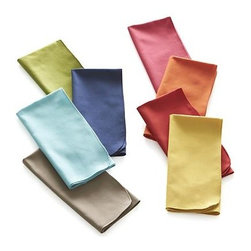 Array Dinner Napkins Set of Eight - Brighten the indoor or outdoor table with this brilliant array of solid cotton napkins featuring distinctive rounded corners and serged hems. Set includes red, grey, blue, green, orange, yellow, pink and navy.