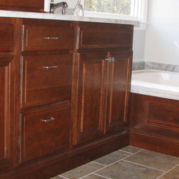 Bathroom Remodel - Double sink vanity with matching wainscot for whirlpool apron