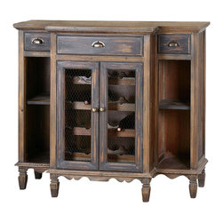 Suzette Wine Cabinet - Like cabinets found in the wine country of Alsace, France, the Suzette Wine Cabinet is both pleasing to the eye and practical. Place your favorite vintages in the wine bottle storage area, where they are visible through wire mesh door fronts. A smoky gray wash endows the cabinet's reclaimed fir wood with the allure of an antique that has been passed down through the generations. Dovetail drawers and brass hardware complete the antiquarian effect.