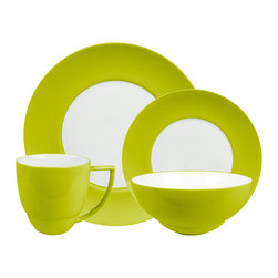 Waechtersbach - Uno 4pc Place Setting, UNO Mint - Add a pop of color to your table with this festive porcelain dinnerware. The place setting includes a dinner plate, salad plate, bowl and mug. The pieces are dishwasher safe, and mix easily with other patterns and colors for a casual, collected feel.