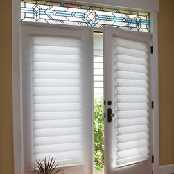 French Door Blinds & Shades: Vignette® Roman Shades on a French Door - Roman Shades are the perfect window treatment for any kind of french door. These Roman Shades come in the cordless version and have hold downs on the bottom rail to keep the blind from swinging around.