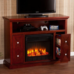 Southern Enterprises - Southern Enterprises Creston Cherry Electric Fireplace Media Console - HN4973-4 - Shop for Fire Places Wood Stoves and Hardware from Hayneedle.com! It doesn't take a burning desire to redecorate to swap out your existing media console for the Southern Enterprises Creston Cherry Electric Fireplace Media Console. It's an easy to move to make as you get all the storage and style that you need with the added charm of a warm crackling fire. The MDF body has a cherry-finished exterior of high-quality basswood veneers that give it a sophisticated feel that's enhanced by the brushed nickel hardware. The flickering flames and glowing embers of the fire are produced by safe and efficient LED lights while the adjustable thermostat lets you choose the amount of heat that radiates from this unique console. Or enjoy the flames with no heat at all. To the left and right of the fireplace are a pair of open-sided pull-out drawers that are ideal for media storage. The drawers roll smoothly on glides for easy access. The wide top can accommodate up to a 45.75 in flat-panel TV while the open shelf below is designed to fit your AV components or gaming consoles. Cord access ports let you keep everything organized. The fireplace features a convenient timer and multiple temperature and brightness settings to choose from which is easy to accomplish with the simple remote control. No additional ventilation is needed as the fireplace doesn't produce any harmful gasses or vapors. About SEI (Southern Enterprises Inc.)This item is manufactured by Southern Enterprises or SEI. Southern Enterprises is a wholesale furniture accessory import company based in Dallas Texas. Founded in 1976 SEI offers innovative designs exceptional customer service and fast shipping from its main Dallas location. It provides quality products ranging from dinettes to home office and more. SEI is constantly evolving processes to ensure that you receive top-quality furniture with easy-to-follow instr