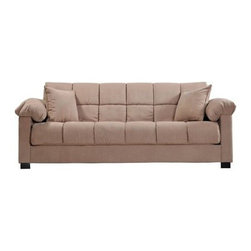 "Handy Living - ""Handy Living Living Room Microfiber Convert-A-Couch Sleeper Sofa, M..."" - ""Transitionally designed sofa sleeper features pillow top arms. Converts into a full size bed with the touch of a hand. Finished block wooden legs. Covered in a mocha microfiber. Covered in a durable 100-percent polyester microfiber that is stain resistant. Includes two decorative pillows. Sofa sleeper is a very versatile piece of furniture that has a three position click style hinge which allows you to sit, recline or sleep 2 comfortably. 10-inch pillow top seat cushion for extra comfort. 576 independently wrapped pocked coil spring system. Polyester fiber, foam and pocket coil seat cushion. Polyester fiber filled back cushion. No bar in the back for added sleeping comfort. Upholstered back and arms for center of the room placement. Cushion accommodates full size sheets for sleeping. All powder coated steel seat and back frame. Reinforced with metal-to-metal connections for strength and durability. Steel stretcher from front to back for frame strength and sturdiness. Innovative engineering and design enables this sofa to fit through a 10-inch??????.5opening. Efficient product design uses less fossil fuel based components in construction and delivery. Break it back down to recycle at the end of use for additional piece of mind. Bed Dimension: 72-inches deep by 51-inches wide by 19-inches high. Each piece ships in one box. Assembly required. Takes less than an hour to assemble. Welcome to Handy Living: Your kind of furniture. Right. Now. Their goal is simple: put full size upholstered furniture in a single box that will ship via common carrier to every doorstep. Handy Living has made everyday furniture exciting and different. They believe furniture should be stylish and fun. It should be affordable. It should be easy to deliver quickly and conveniently in a single box - and ridiculously easy to assemble. And it should be environmentally responsible. Handy Living - Thinking Inside the Box.Dimensions (W x L x H): 39.5"""" x 84.25"""" x 36""""Weight: 124.5 lbs.Transitional sleeper sofa with pillow top arms from the convert-a-couch collectionVery versatile piece of furniture that converts into a full size bed with the touch of a handAllows you to sit, recline or sleep two people comfortably10-inch pillow top seat cushion and no bar in the back for extra comfortDurable stain resistant 100-percent polyester microfiber"""