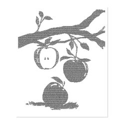 Postertext - Wild Apples Art Print - Made Entirely With Text (B & W) - Wild Apples poster is created using the entire text of the book.