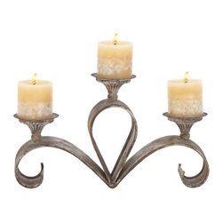 Benzara - Metal Candle Holder 15in.W, 9in.H - Size: 15 Wide x 4 Depth x 9 High (Inches)