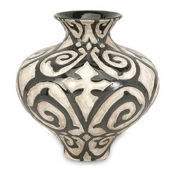 "Silver Nest - Cavort Short Vase- 9.5""h - With a muted bronze pattern raised from a cream finished bodice, the short Cavort vase has a sophisticated and luxurious appeal."
