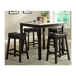 Homelegance - Archstone 5-Piece Counter Height Table Set - A space apart from the hustle and bustle of today's hectic lives, this gathering height table with four stools are designed for you to enjoy a good meal with or without your friends and families.