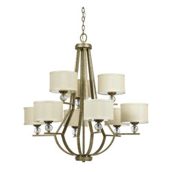 Yosemite - Yosemite TWC5474C-3/6 9 Light Two Tier Up Light Chandelier from the Lewisia Coll - Lewisia 9 Light Two Tier Up Light ChandelierFunctionality and style are not mutually exclusive, as evidenced by the graceful golden dew finish and cream linen shades of this chandelier.Features: