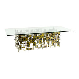 Silas Seandel Metal & Glass Coffee Table - Dimensions 59.75ʺW × 24.0ʺD × 16.75ʺH