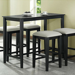 None - Black Grain Counter Height Table - Enjoy delicious meals at home at this wooden black counter-height table which seats four. Its built-in footrest supports your feet while you're seated. The table's luxurious black grain finish contrasts nicely with lighter colored decor.