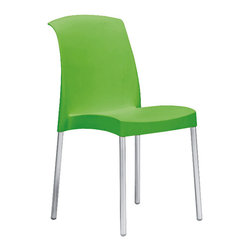 Eurostyle - Jenny Chair (Set of 6) - Green/Aluminum - Recyclable polypropylene shell