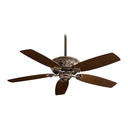 "Minka Aire - Traditional 54"" Minka Aire Classica Patina Iron Finish Ceiling Fan - A smooth blend of timeless form and function distinguishes the Classica ceiling fan. This simple design is enhanced by raised old world detailing on the motor. The fan motor features a patina iron finish and it's matched with dark walnut blades. From Minka Aire. Lifetime motor warranty. Pull chain operation. 3 1/2"" and 6"" downrods included. 54"" blade span. 14 degree blade pitch.  Patina iron finish motor.  Dark walnut blades.  Lifetime motor warranty.   Pull chain operation.   54"" blade span.   14 degree blade pitch.  Fan height 13-1/8"" from ceiling to blade (with 3-1/2"" downrod).  3 1/2"" and 6"" downrods included."