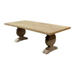 Kathy Kuo Home - Cervantes French Country Trestle Base Farmhouse Dining Table - This farmhouse-style table has a broad expanse that can accommodate a crowd. The trestle base is intricately detailed with classical accents, making it a fitting piece for your French country or Gustavian-inspired dining room.