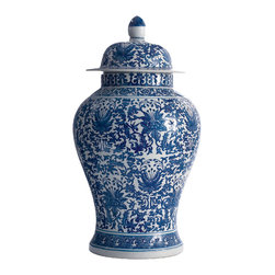 Kathy Kuo Home - Asian Lotus Covered Blue White Hand Painted Temple Jar - A - Give your home a global perspective with this Asian-inspired temple jar. Hand-painted in a traditional blue and white palette, it looks just as fabulous atop a rustic-reclaimed wood credenza as it does on a sleek glass console or up high on a mantel.