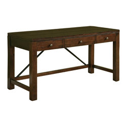 Riverside Furniture - Castlewood Writing Desk in Warm Tobacco Finish - Drop-front knee drawer with 2-outlet power bar and wiring access holes.