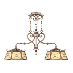Livex - Livex 8832-64 Bristol Manor Island Lighting Palacial Bronze - Livex 8832-64 Bristol Manor Island Lighting in Palacial Bronze with Gilded Accents with Gold Dusted Art Lens Glass.