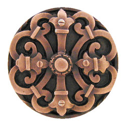 """Inviting Home - Chateau Knob (antique copper) - Hand-cast Chateau Knob in antique copper finish; 1-9/16"""" diameter Product Specification: Made in the USA. Fine-art foundry hand-pours and hand finished hardware knobs and pulls using Old World methods. Lifetime guaranteed against flaws in craftsmanship. Exceptional clarity of details and depth of relief. All knobs and pulls are hand cast from solid fine pewter or solid bronze. The term antique refers to special methods of treating metal so there is contrast between relief and recessed areas. Knobs and Pulls are lacquered to protect the finish. Alternate finishes are available. Detailed Description: The Chateau pulls are a very dramatic accessory to any cabinets or drawers. Pulls are inspired by the designs used all over the French country-side chateaus. They were the houses in which nobility resided. The Chateau design is meant to look strong an unyielding while giving an incredibly elegant and delicate touch. The Chateau pulls are a great match with the Chateau knobs."""