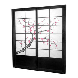 Oriental Furniture - 7 ft. Tall Cherry Blossom Shoji Sliding Door Kit - Black - This fantastic Cherry Blossom Shoji Sliding Door Kit comes with two sliding doors, top and bottom tracks, and right and left door jambs. It is an elegant and subtle way to bring a sophisticated Asian accent to your space.