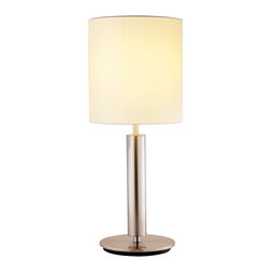 "Adesso Inc. - Hollywood Table Lamp S2 - Each Hollywood lamp has a chunky satin steel pole with a flat round base and a tall ivory silk shade. Has a three-way touch sensor switch (not compatible with CFL bulb). Takes 100 Watt. 27"" Height, 2"" Diameter pole. 8"" Base. Shade: 12"" Height, 9.75"" Diameter."