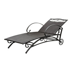 International Caravan - Multi Position Chaise Lounge (Chocolate) - Finish: ChocolateWater resistant. UV light fading protection. Five positions for various comfort zones. Equipped with wheels for easy transportation. Powder coated frame. Made from wicker resin and steel frame. Assembly required. 73 in. W x 26 in. D x 27 in. H (54 lbs.)The Valencia outdoor wicker resin chaise lounge is a best seller.