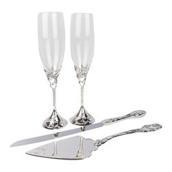 "Unik Occasions - Unik Occasions Toasting Glasses & Cake Serving Set - Toast to your love on your special day with this lovely pair! Designed with silver, whimsical hearts, nothing can be more romantic than these simple yet stunningly sophisticated glasses. These silver-based champagne flutes make a fantastic addition to the bride and groom's table. Cut your wedding cake in style with this elegant cake knife and server set! You'll love having this set in your ""cutting cake"" wedding photo. With the whimsical designs, this set is a stunning pair to put next to your wedding cake."