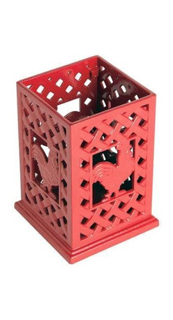 Anchor Hocking - Cast Iron Red Rooster Utensil - 99163 Anchor Hocking Cast Iron Utensil Holder / Red Rooster Design.  Rustic Rooster Kitchen Series by Anchor Home Collection feature hand-crafted products with a rustic, old-world, cozy charm.  Durable Cast-iron in red enamel