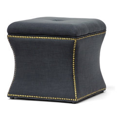 Baxton Studio - Baxton Studio Shrewsbury Dark Gray Linen Modern Ottoman - A petite ottoman with concave sides, our Shrewsbury Ottoman stylishly furnishes a bedroom or living room with timeless sophistication. We start with a sturdy eucalyptus wood frame, soften it with polyurethane foam padding, and add charcoal gray linen upholstery. Antiqued bronze metal nail head trim lines the perimeter and black legs with non-marking feet finish off this Chinese-made footstool. No assembly is needed and spot cleaning is appropriate when necessary. A beige option of the Shrewsbury Ottoman is also offered (sold separately).