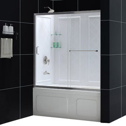 """DreamLine - DreamLine Infinity-Z 56 to 60"""" Frameless Sliding Tub Door and - The INFINITY-Z tub door and Backwall Kit offers a beautiful solution for a bathroom remodeling project. The sliding tub door is paired with a stationary glass panel to provide a comfortably wide bath entry. The stationary panel of the INFINITY-Z sliding tub door is fitted with a convenient towel bar that doubles as a handle. The kit pairs the sliding tub door with versatile backwall panels made from durable Acrylic/ABS advanced materials. The tub wall panels have an attractive tile pattern and are easy to install with a trim-to-size fit. Transform your bath tub space with an efficient and cost effective kit from DreamLine. Items included: Infinity-Z Tub Door and QWALL-Tub Backwall KitOverall kit dimensions: 28 - 32 in. D x 56 - 60 in. W x 60 in. HInfinity-Z Tub Door:,  56 - 60 in. W x 58 in. H ,  1/4 (6 mm) clear tempered glass,  Chrome or Brushed Nickel hardware finish,  Frameless glass design,  Width installation adjustability: 56 - 60 in.,  Out-of-plumb installation adjustability: Up to 1 in. per side,  Anodized aluminum profiles and guide rails,  Convenient towel bar on the outside panel,  Aluminum top and bottom guide rails may be shortened by cutting up to 4"""",  Door opening: 21 3/8 - 25 3/8 in.,  Stationary panel: 27 in.,  Reversible for right or left door opening installation,  Material: Tempered Glass, Aluminum,  Tempered glass ANSI certifiedQWALL-Tub Backwall Kit:,  Color: White,  Assembly required,  Durable acrylic/ABS construction ,  Compatible with most rectangular shaped bathtubs,  Specially designed to be installed over existing solid surface (not directly against the studs),  Attractive tile pattern ,  Includes 2 glass corner shelves,  Depth may be trimmed down from 32 in. to 28 in.,  Width may be trimmed down from 59 1/2 in. to 56 in.,  Height is 60 in.,  Tub is not includedProduct Warranty:,  Tub Door: Limited 5 (five) year manufacturer warranty,  Shower Backwalls: Limited 1"""