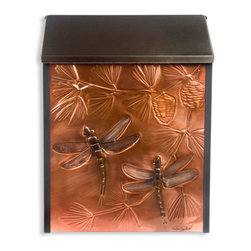 Dragonflies & Pinecones Locking Wall-Mount Copper Mailbox - Customize your home's exterior with this elegant locking wall mount mailbox, featuring a hand-embossed copper panel decorated with dragonflies and pinecones. Makes a great gift!