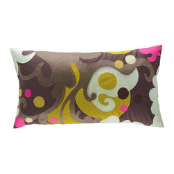 "KOKO - Earth Pillow, Sage/Brown/Mustard, 15"" x 27"" - Currents of color swirl around this exuberant throw pillow, embroidered from washable wool felt. The solid backside features a central opening and tie closure, concealing the poly insert (included). Toss one or two of these onto a bed, sofa or chair for a festive accent."