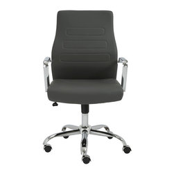 Eurostyle - Fenella Office Chair-Gray/Chrome - 1.1 mm thick leatherette seat and back over foam
