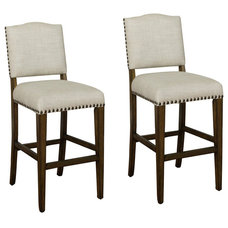 Transitional Bar Stools And Counter Stools American Heritage Worthington 30 Inch Bar Stool in Grey (Set of 2)