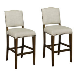 American Heritage - American Heritage Worthington 30 Inch Bar Stool in Grey (Set of 2) - When simplicity and versatility are the order of the day, these fully-constructed wood and linen stools fit the bill. Coastal Grey finish with a fully-upholstered high-back seat in Sahara Sand, with adjustable leg levelers and mortise and tenon construction for long-lasting durability. A complement to any dicor. What's included: Stool (2).
